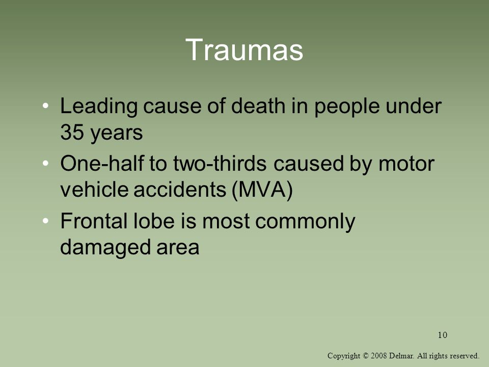 Traumas Leading cause of death in people under 35 years