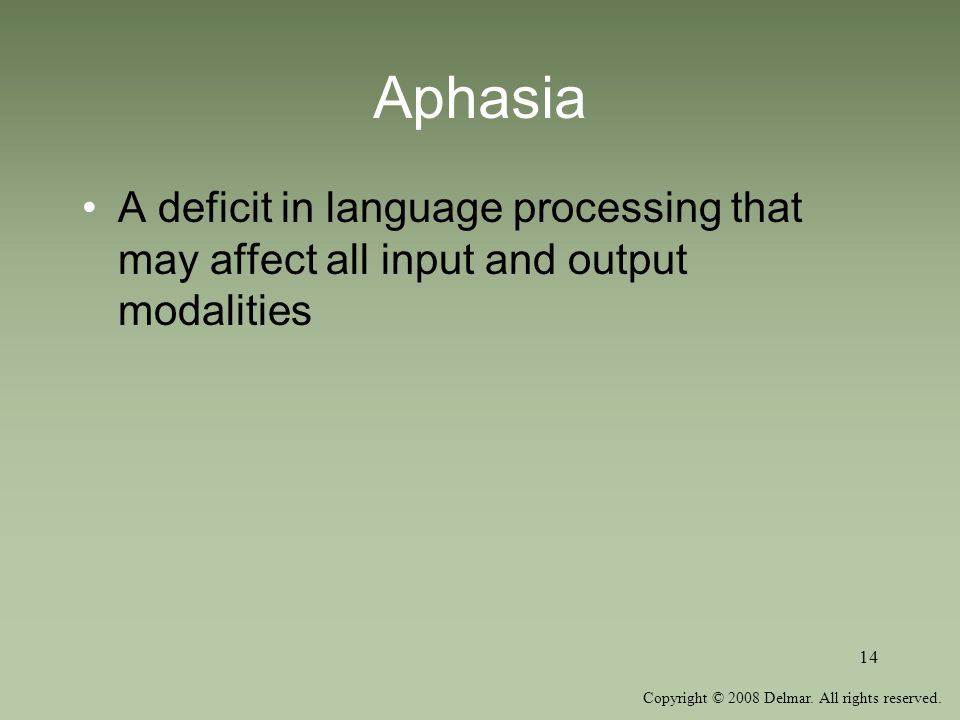 Aphasia A deficit in language processing that may affect all input and output modalities.