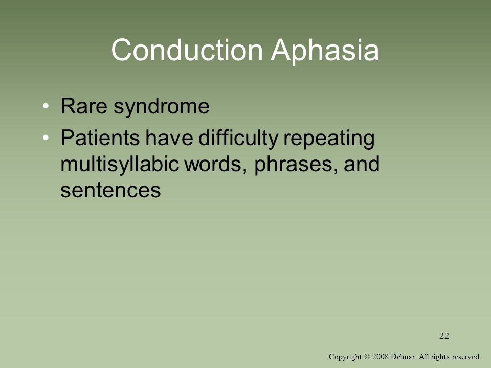 Conduction Aphasia Rare syndrome