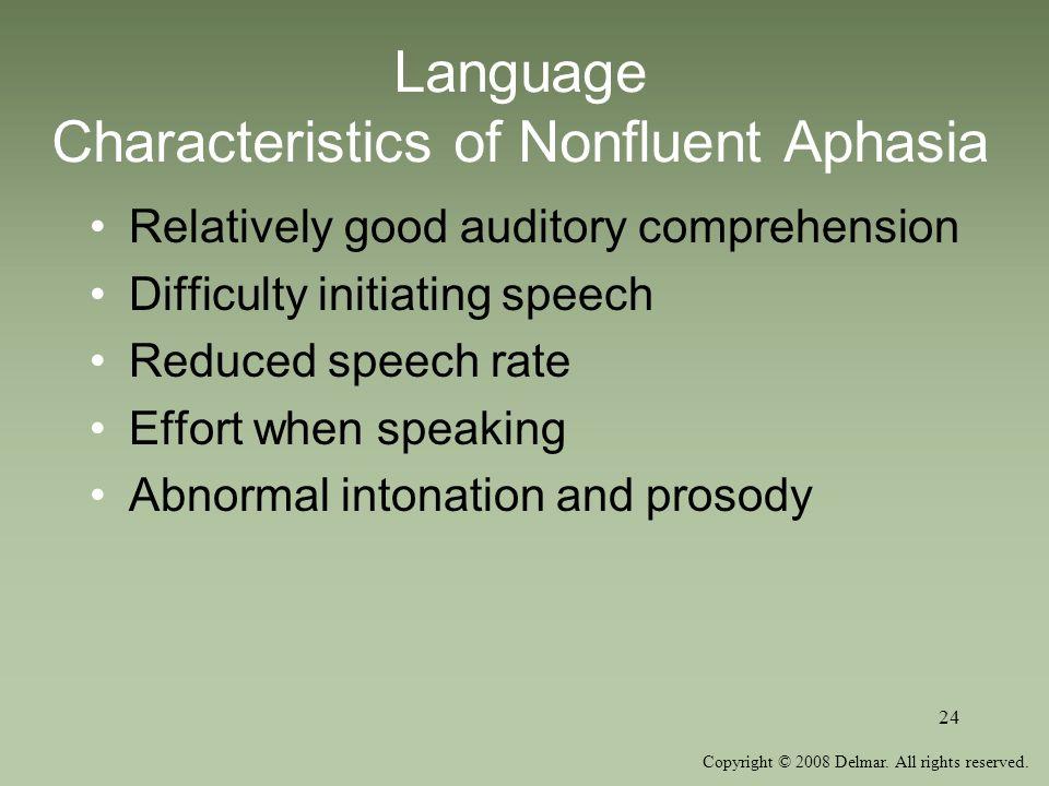 Language Characteristics of Nonfluent Aphasia