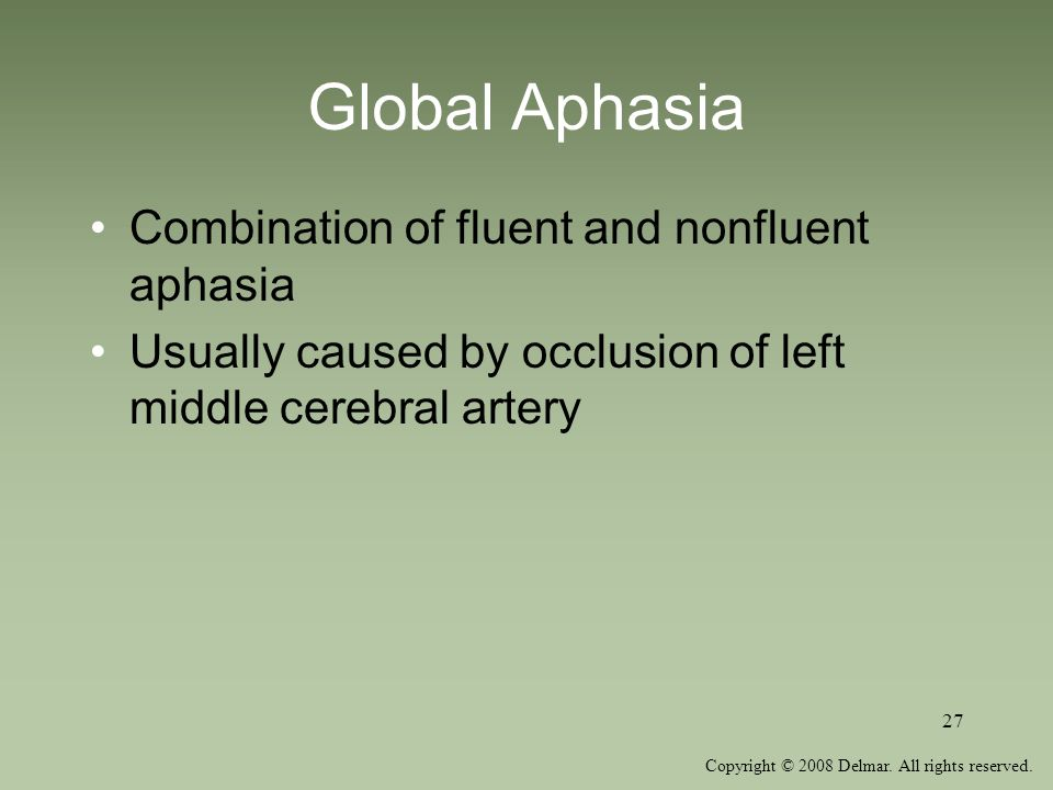 Global Aphasia Combination of fluent and nonfluent aphasia