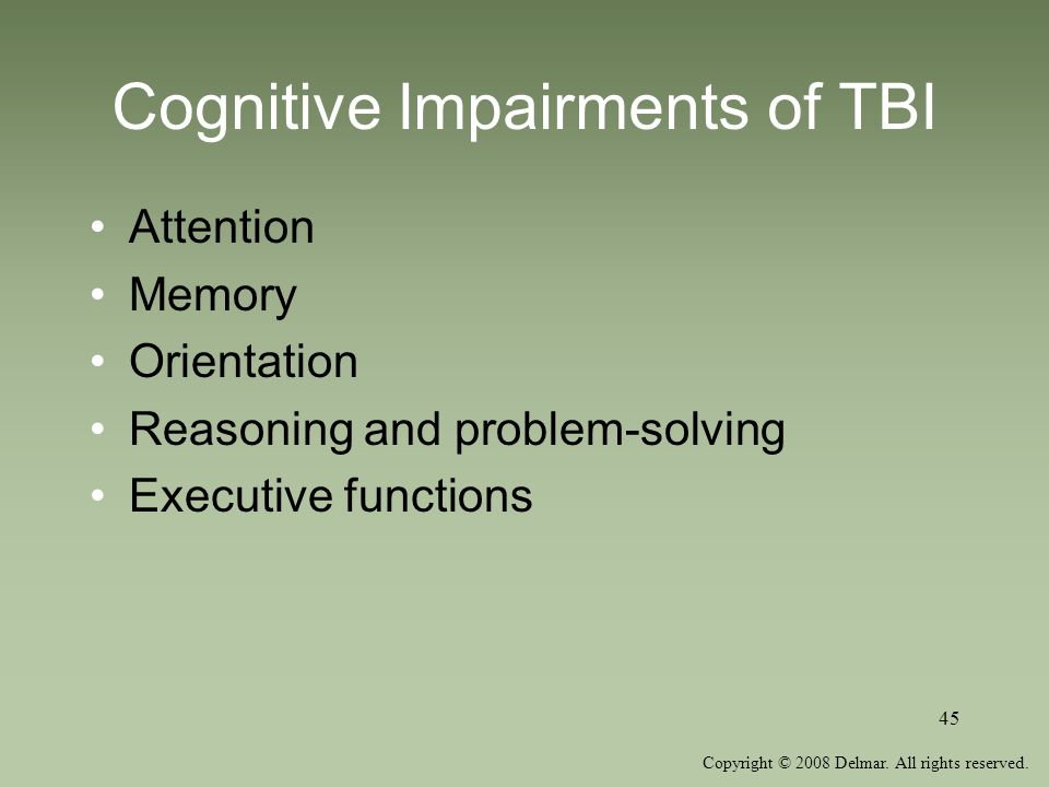 Cognitive Impairments of TBI