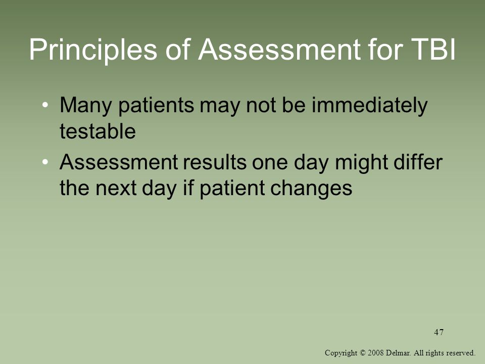 Principles of Assessment for TBI