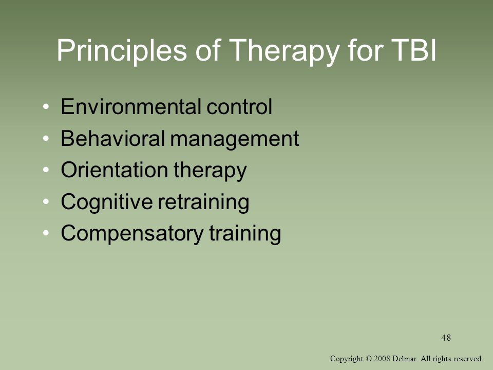 Principles of Therapy for TBI