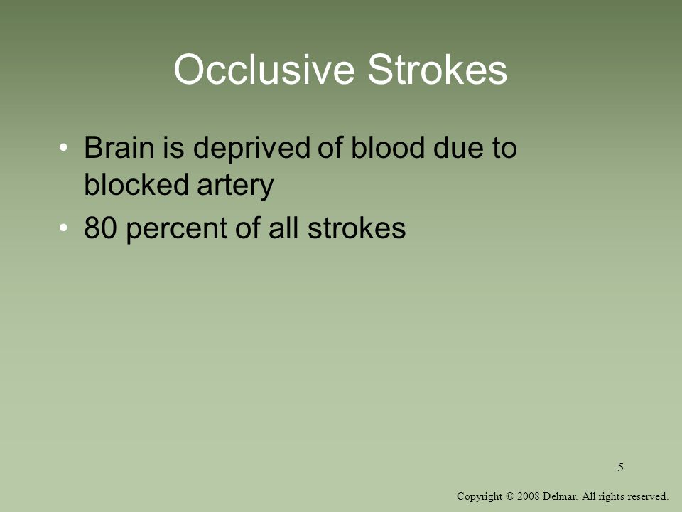 Occlusive Strokes Brain is deprived of blood due to blocked artery