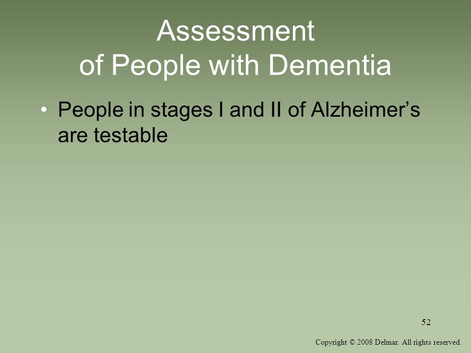 Assessment of People with Dementia