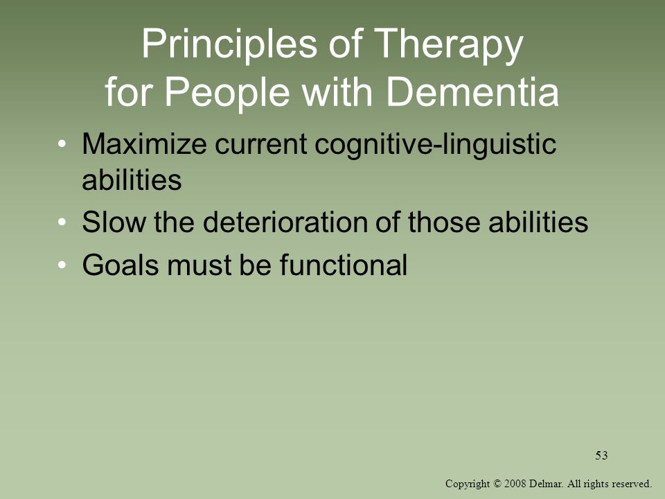 Principles of Therapy for People with Dementia