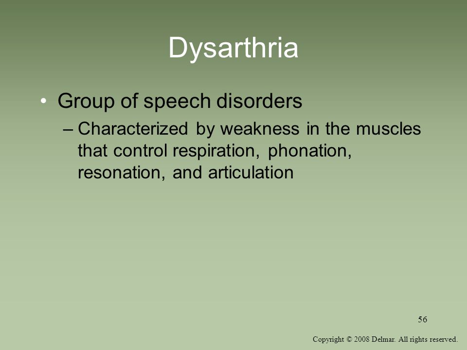 Dysarthria Group of speech disorders