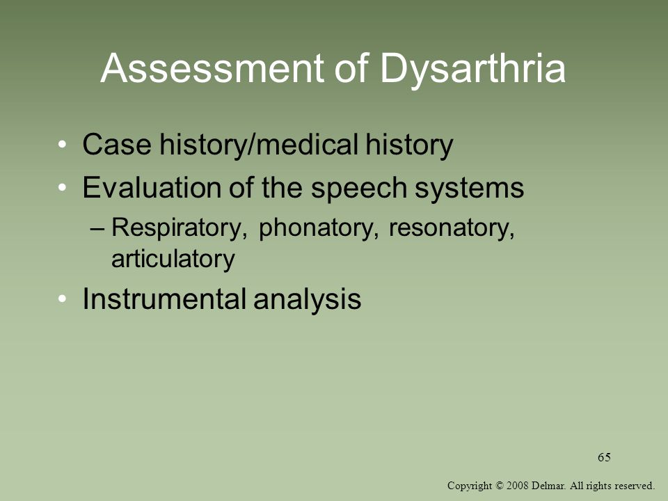 Assessment of Dysarthria