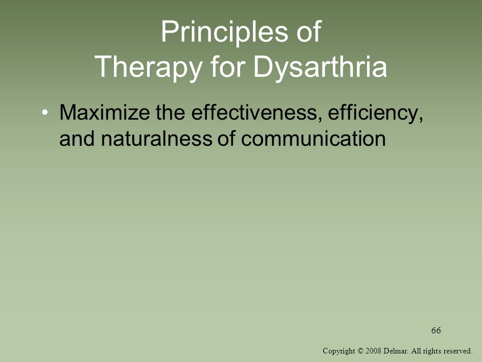 Principles of Therapy for Dysarthria