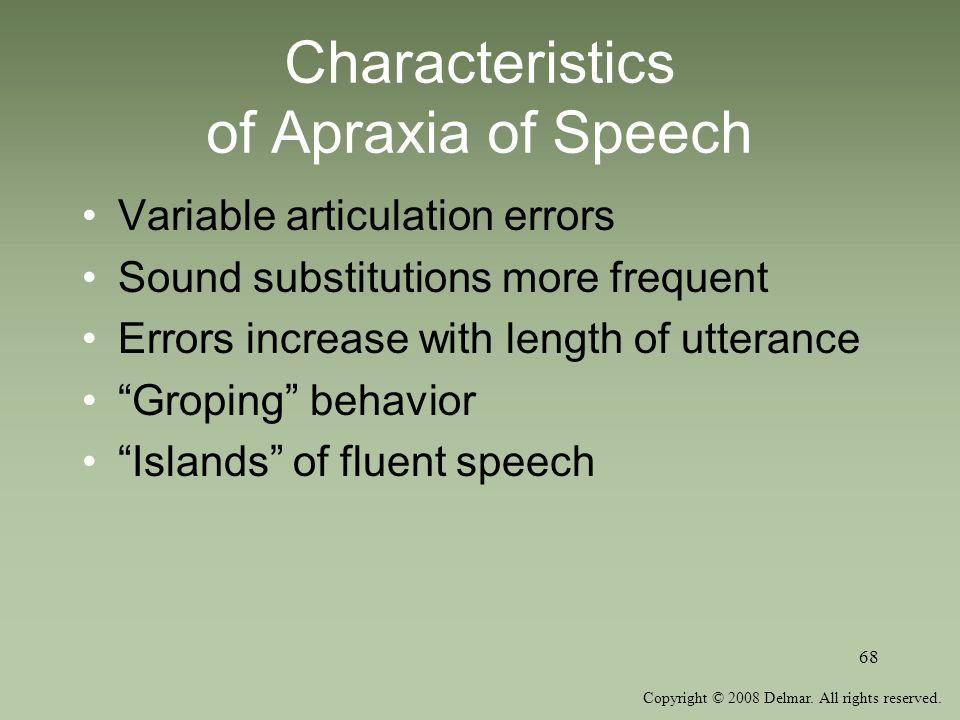 Characteristics of Apraxia of Speech