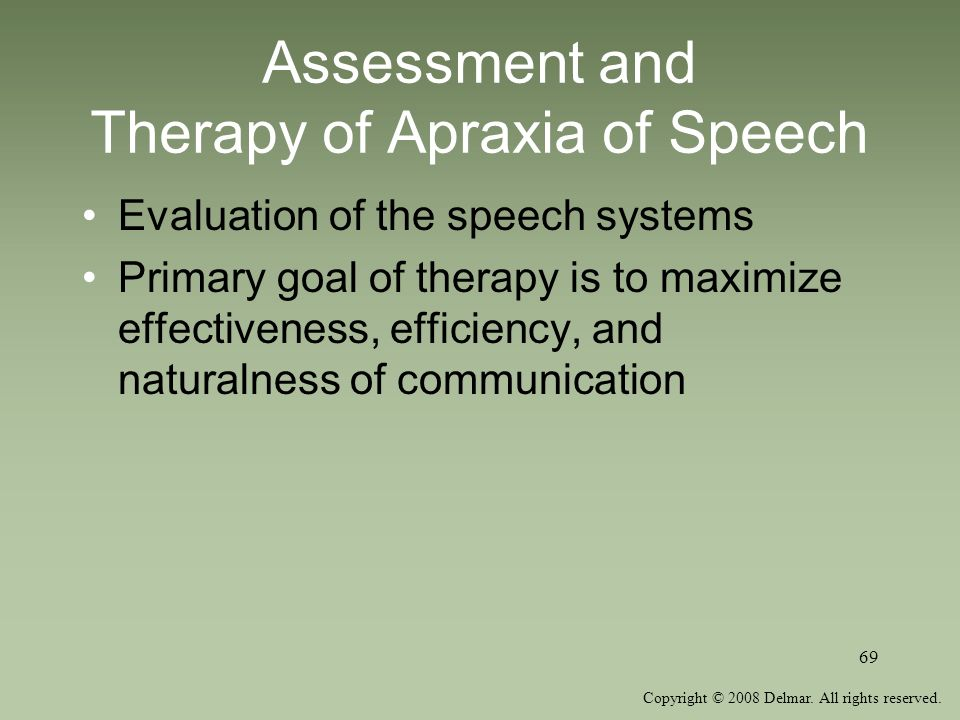 Assessment and Therapy of Apraxia of Speech
