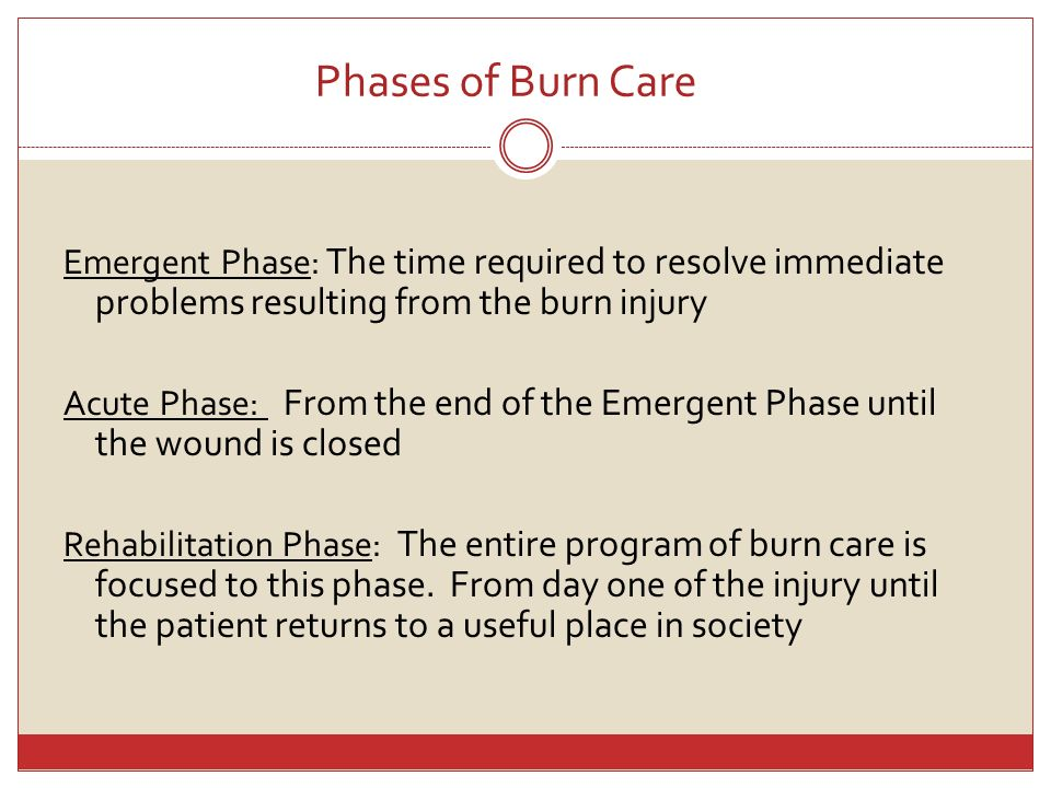 Phases of Burn Care