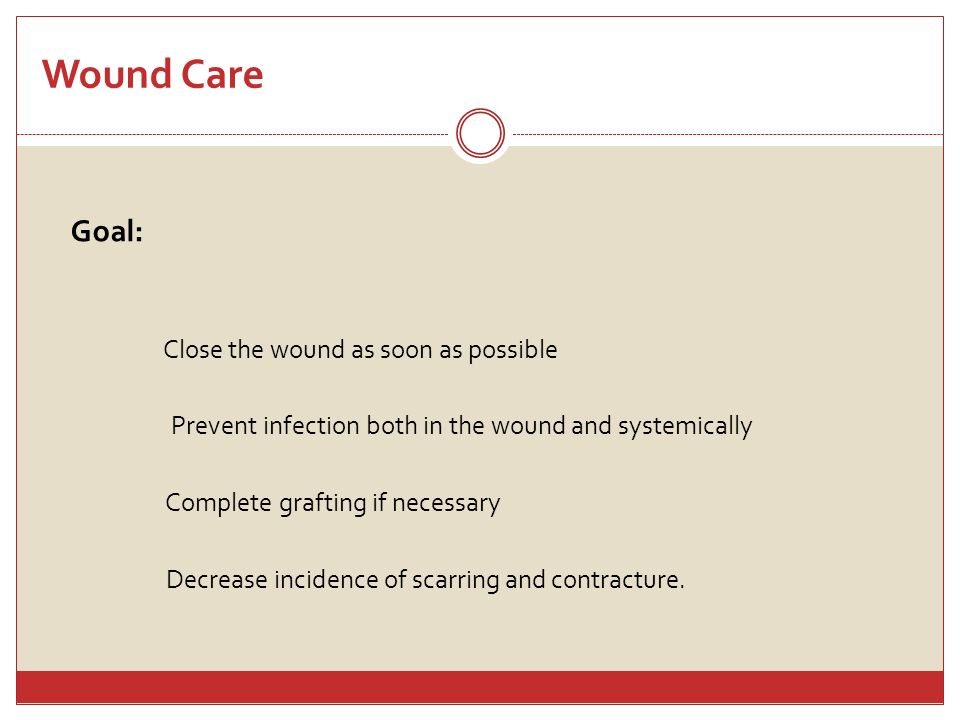 Wound Care Goal: Close the wound as soon as possible