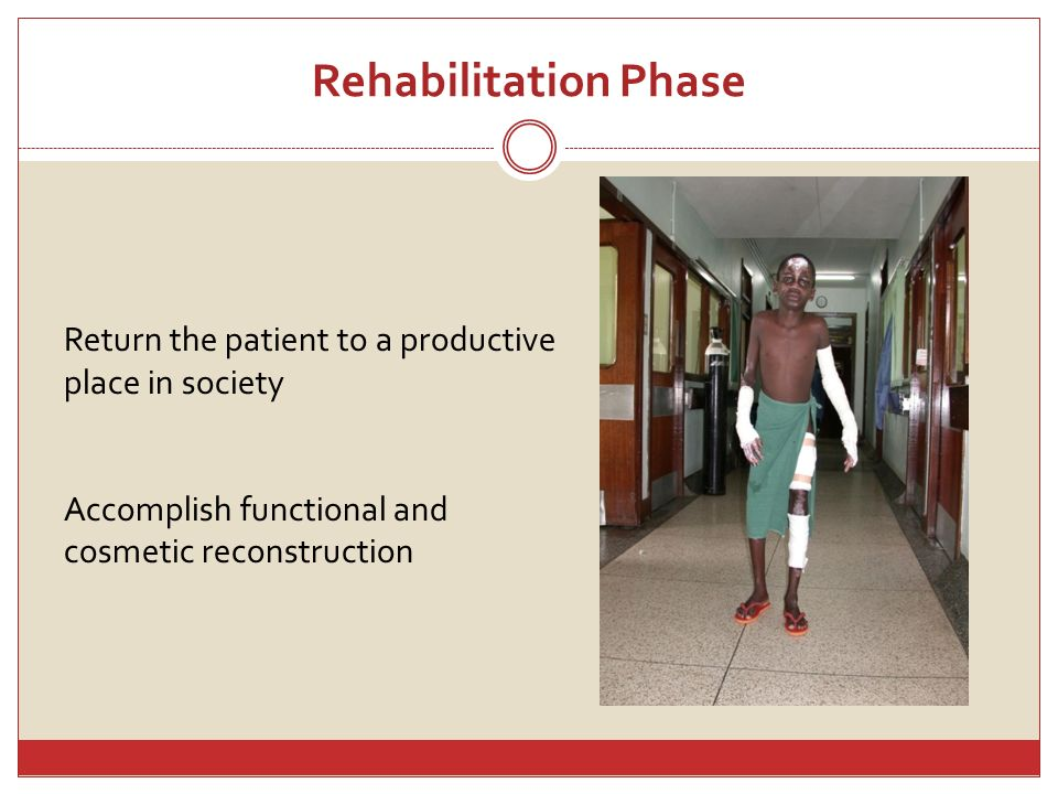 Rehabilitation Phase Return the patient to a productive place in society.