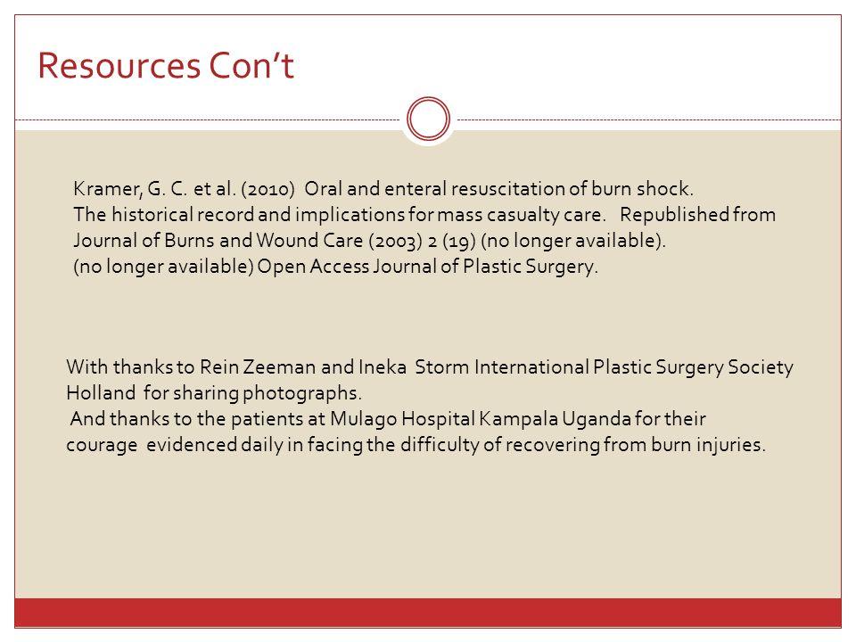 Resources Con't Kramer, G. C. et al. (2010) Oral and enteral resuscitation of burn shock.