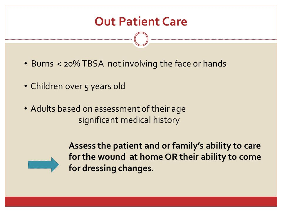 Out Patient Care Burns < 20% TBSA not involving the face or hands