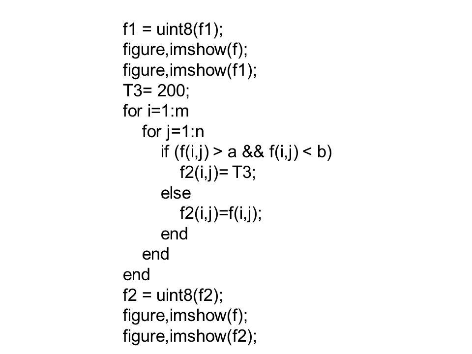 f1 = uint8(f1); figure,imshow(f); figure,imshow(f1); T3= 200; for i=1:m. for j=1:n. if (f(i,j) > a && f(i,j) < b)