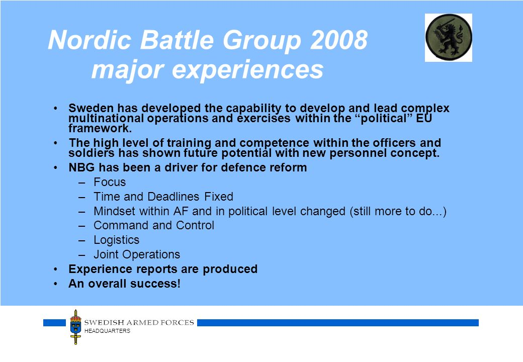 Nordic Battle Group 2008 major experiences
