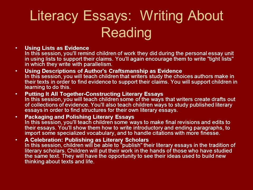 Literacy Essays: Writing About Reading