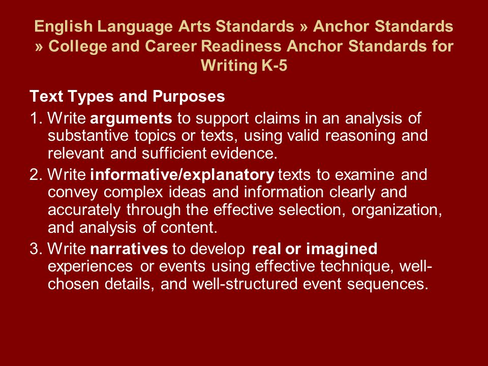 English Language Arts Standards » Anchor Standards » College and Career Readiness Anchor Standards for Writing K-5