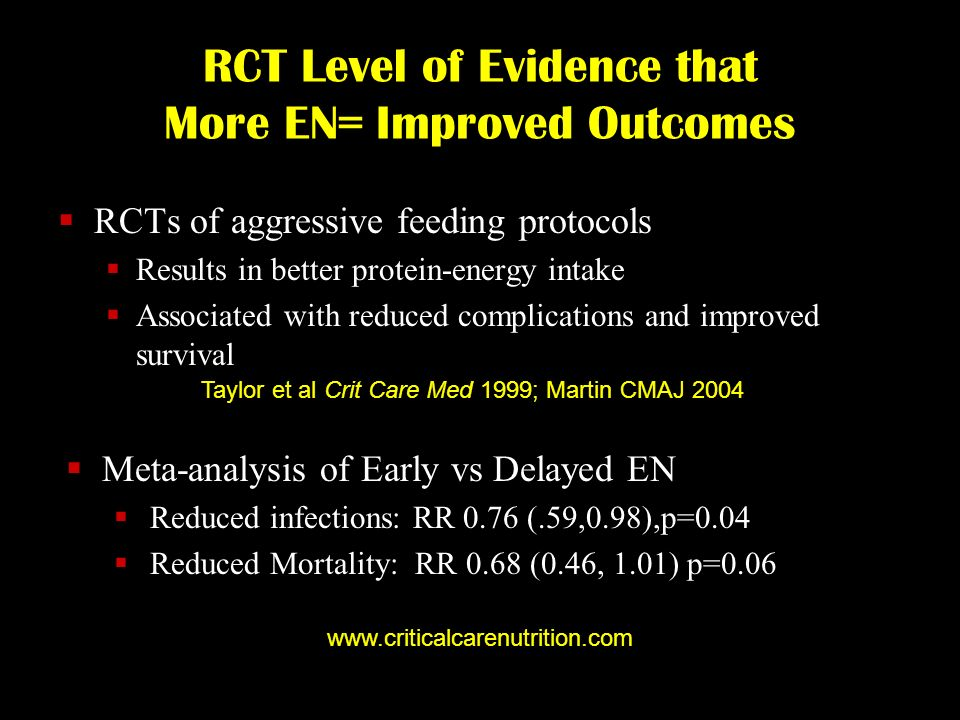 RCT Level of Evidence that More EN= Improved Outcomes