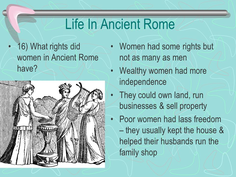 Life In Ancient Rome 16) What rights did women in Ancient Rome have