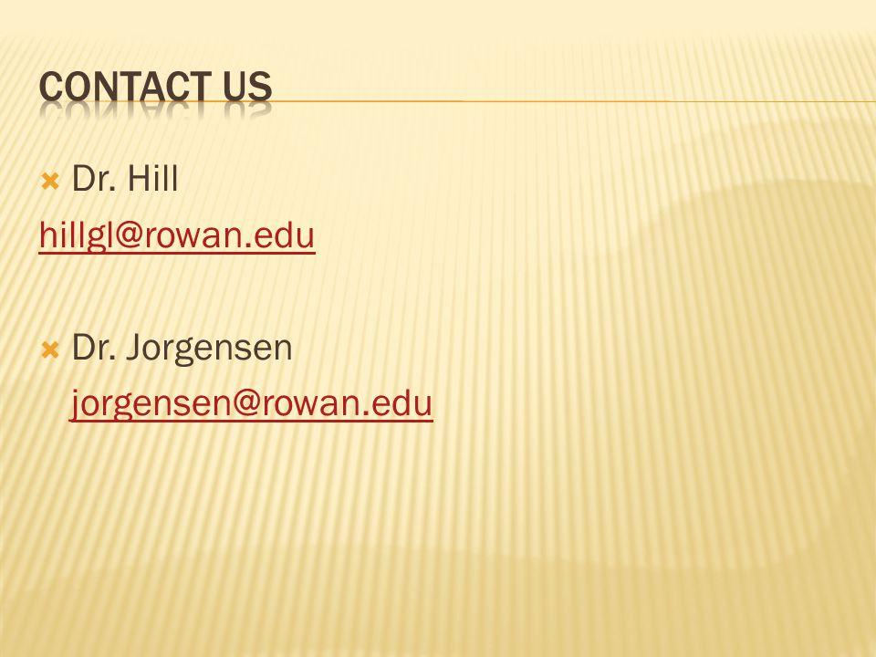 Contact us Dr. Hill hillgl@rowan.edu Dr. Jorgensen jorgensen@rowan.edu