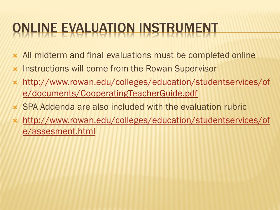 Online Evaluation Instrument