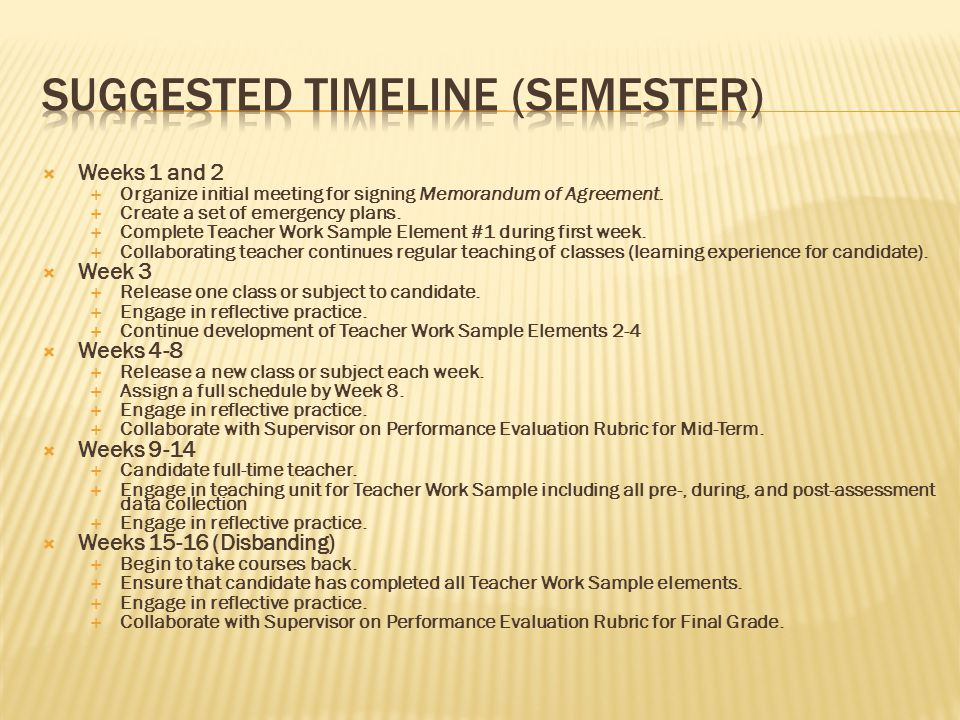 Suggested Timeline (Semester)