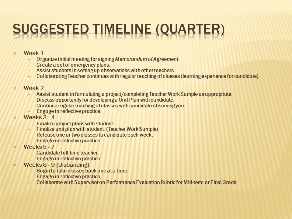 Suggested timeline (quarter)