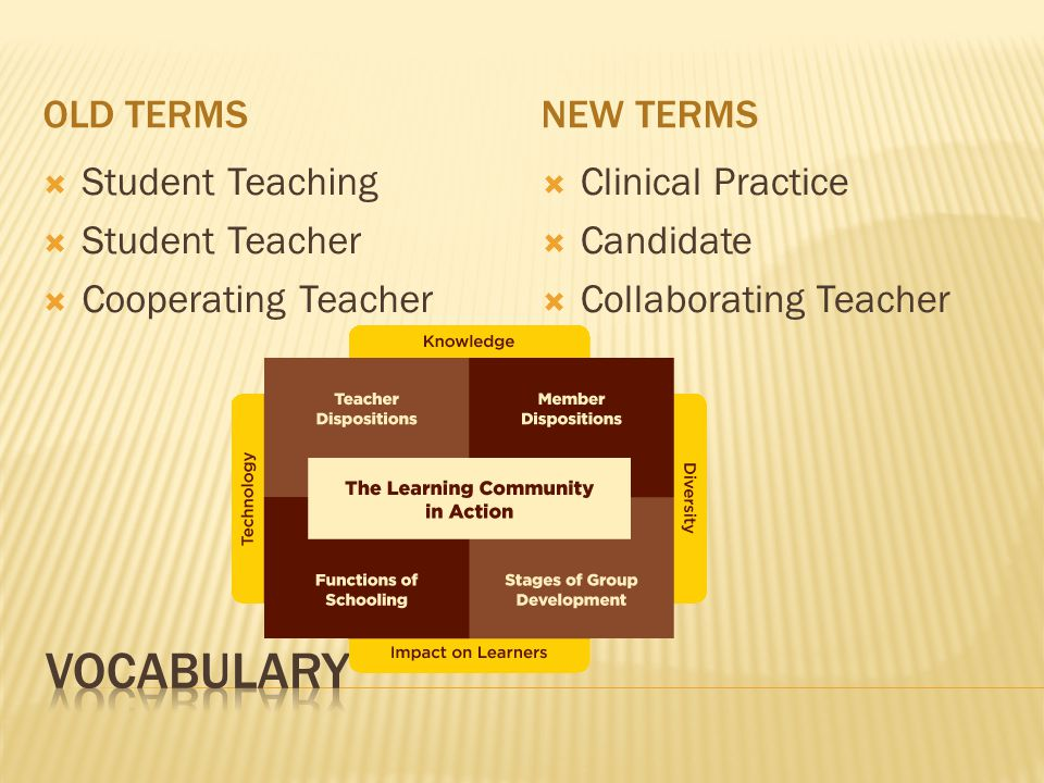 Vocabulary Old terms New terms Student Teaching Student Teacher