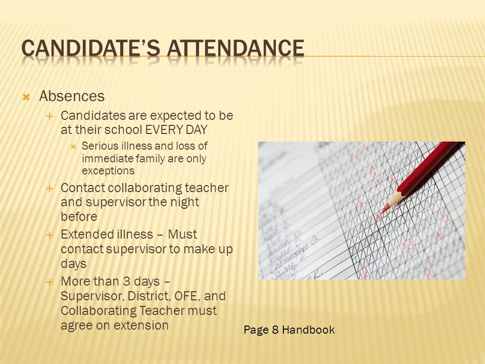 Candidate's Attendance