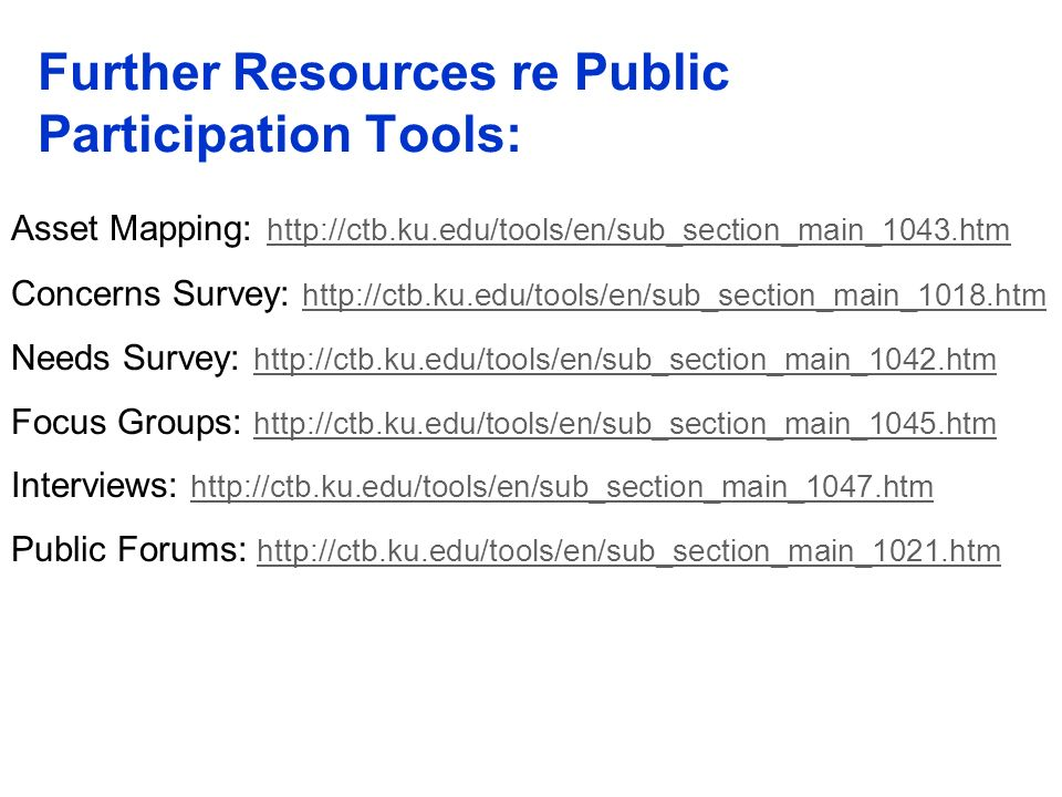 Further Resources re Public Participation Tools:
