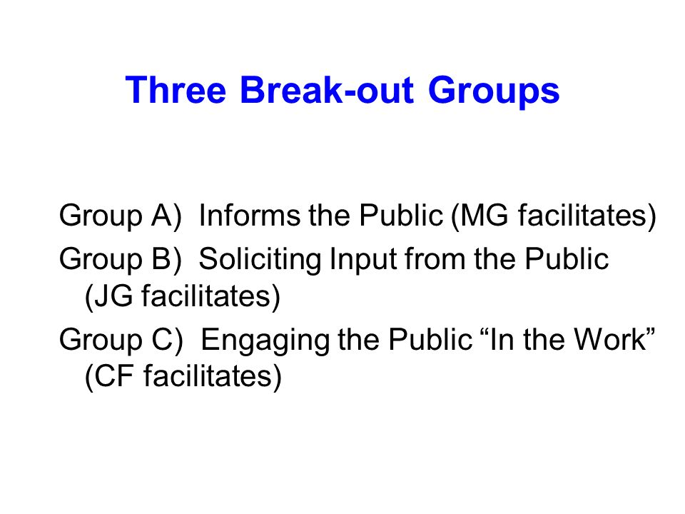 Three Break-out Groups