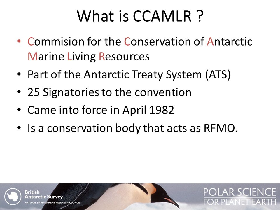 What is CCAMLR Commision for the Conservation of Antarctic Marine Living Resources. Part of the Antarctic Treaty System (ATS)