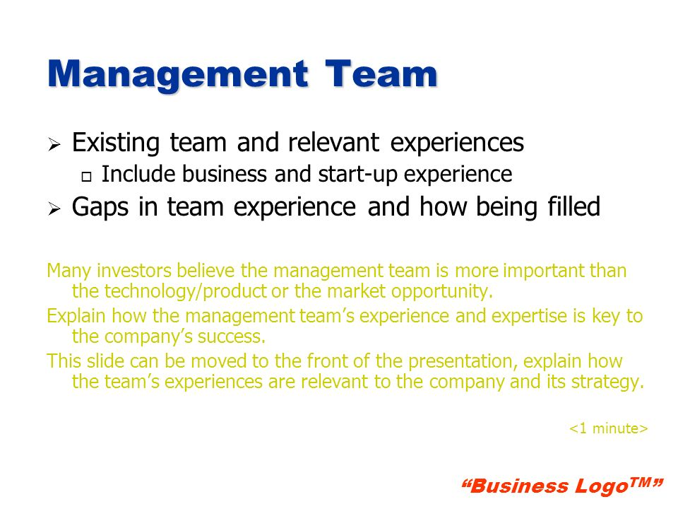 Management Team Existing team and relevant experiences