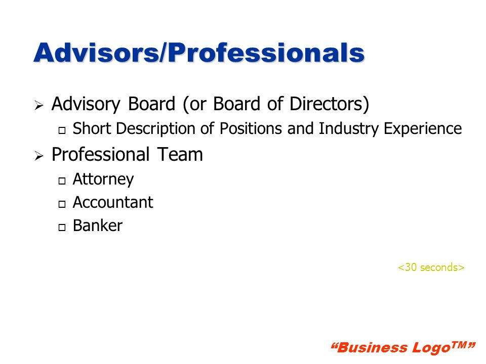 Advisors/Professionals