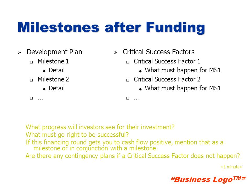 Milestones after Funding