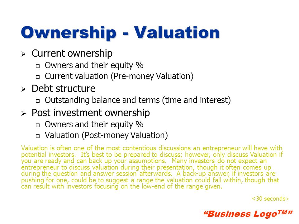 Ownership - Valuation Current ownership Debt structure