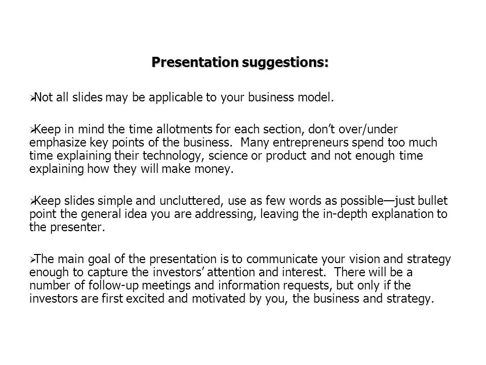 Presentation suggestions: