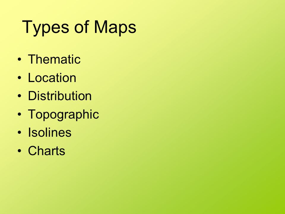 Types of Maps Thematic Location Distribution Topographic Isolines