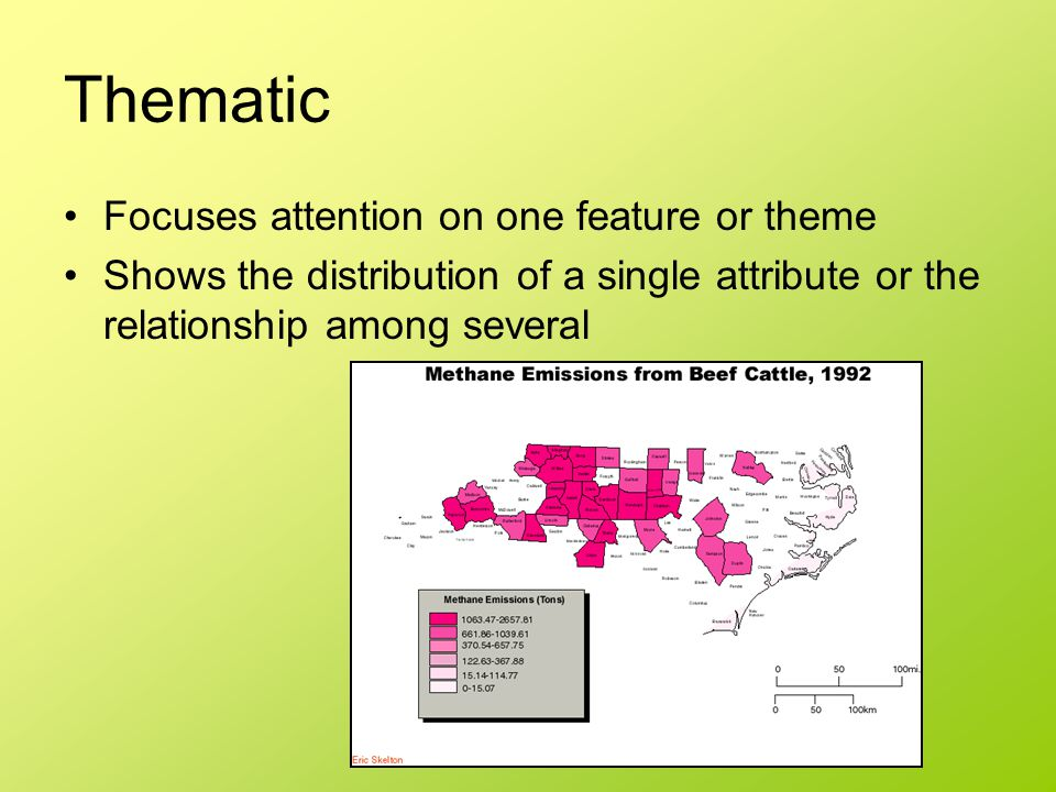 Thematic Focuses attention on one feature or theme