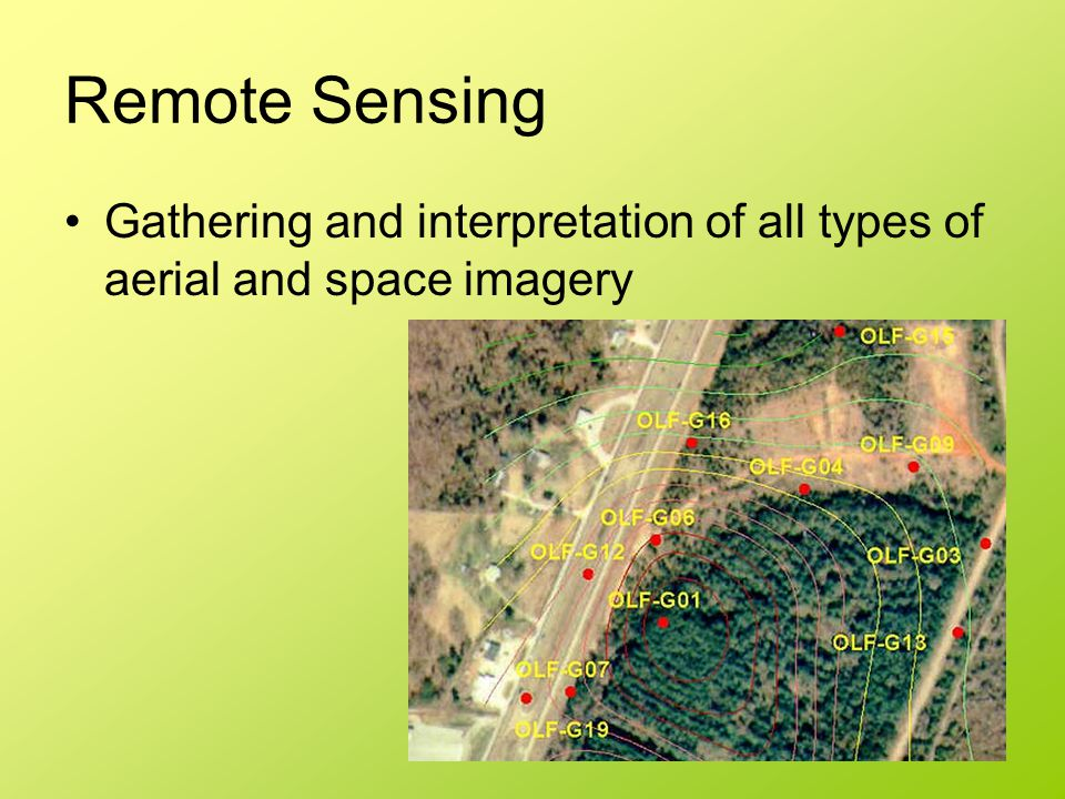 Remote Sensing Gathering and interpretation of all types of aerial and space imagery