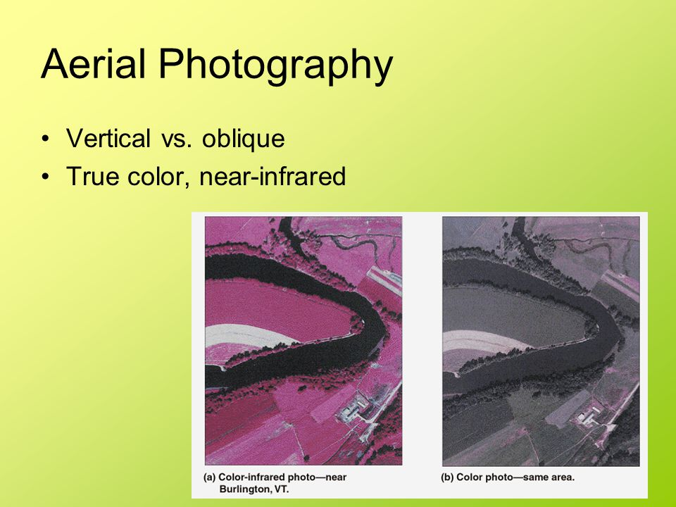 Aerial Photography Vertical vs. oblique True color, near-infrared