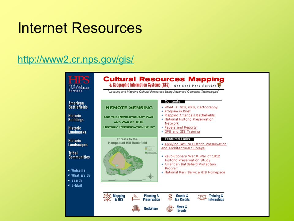 Internet Resources http://www2.cr.nps.gov/gis/