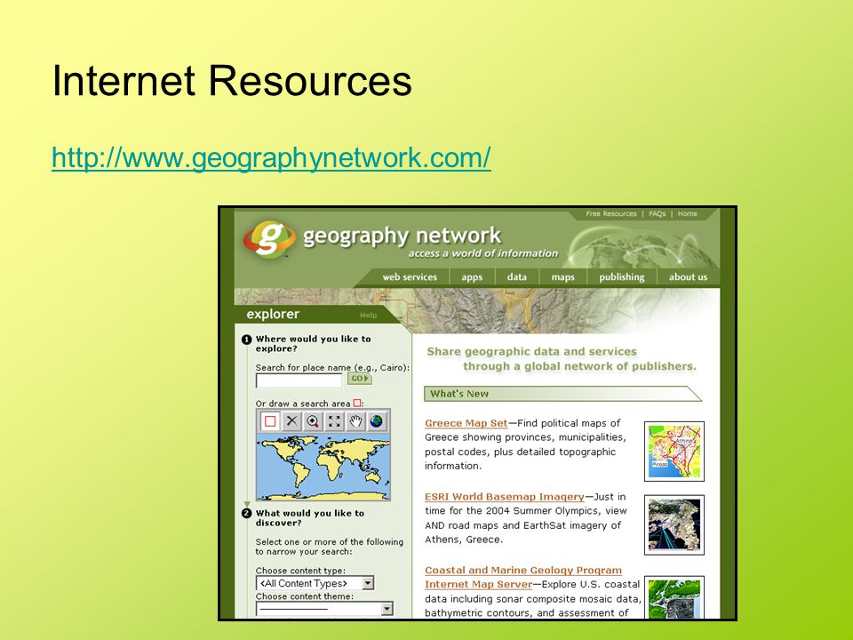 Internet Resources http://www.geographynetwork.com/