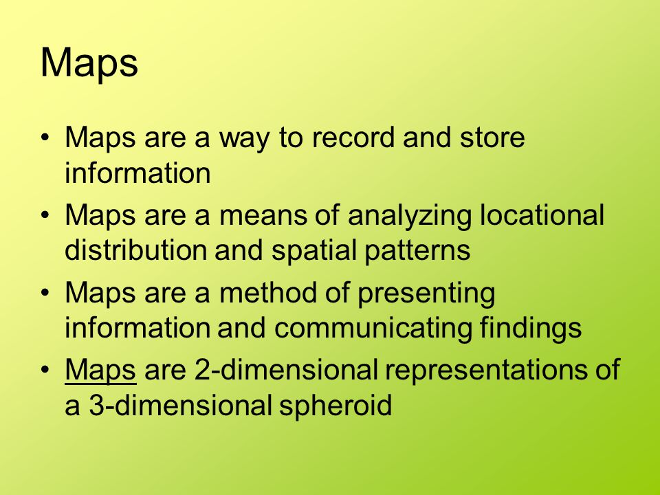 Maps Maps are a way to record and store information