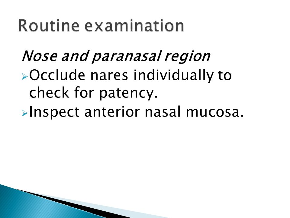 Routine examination Nose and paranasal region