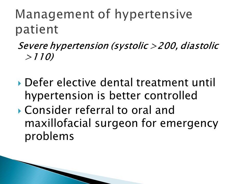 Management of hypertensive patient